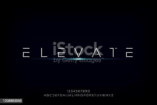 istock Elevate, a modern minimalist futuristic alphabet font design 1208883555