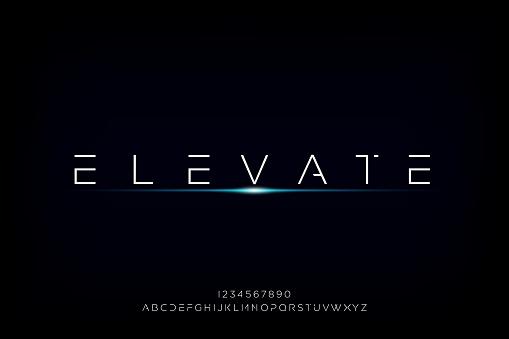 Elevate, a modern minimalist futuristic alphabet font design