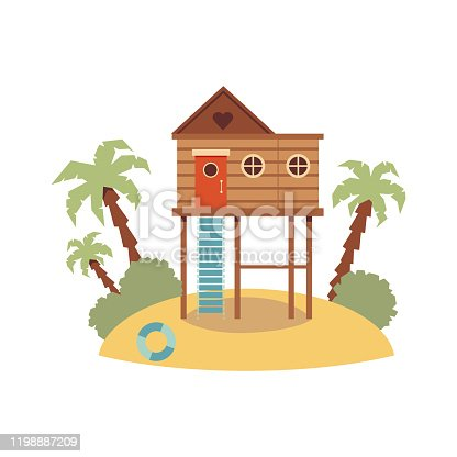 Elevated wooden beach house on piling stilts standing on sand hill island with palm trees isolated on white background. Flat cartoon vector illustration.