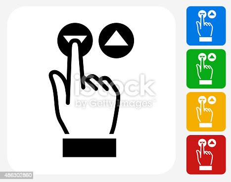 Elevator Buttons Icon. This 100% royalty free vector illustration features the main icon pictured in black inside a white square. The alternative color options in blue, green, yellow and red are on the right of the icon and are arranged in a vertical column.