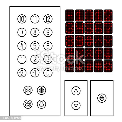 Elevator buttons icon set. Elements of elevator interior interface in a thin line style. Cabin led indicator. Adjustable stroke outline width.