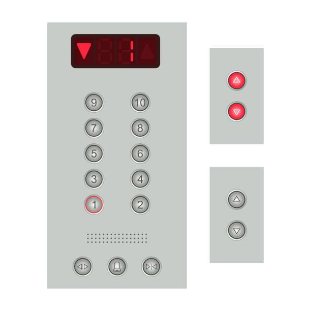illustrazioni stock, clip art, cartoni animati e icone di tendenza di elevator buttons panel - ascensore