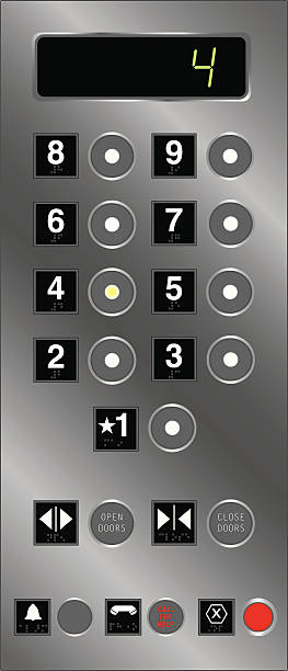 Elevator Buttons With Braille vector art illustration