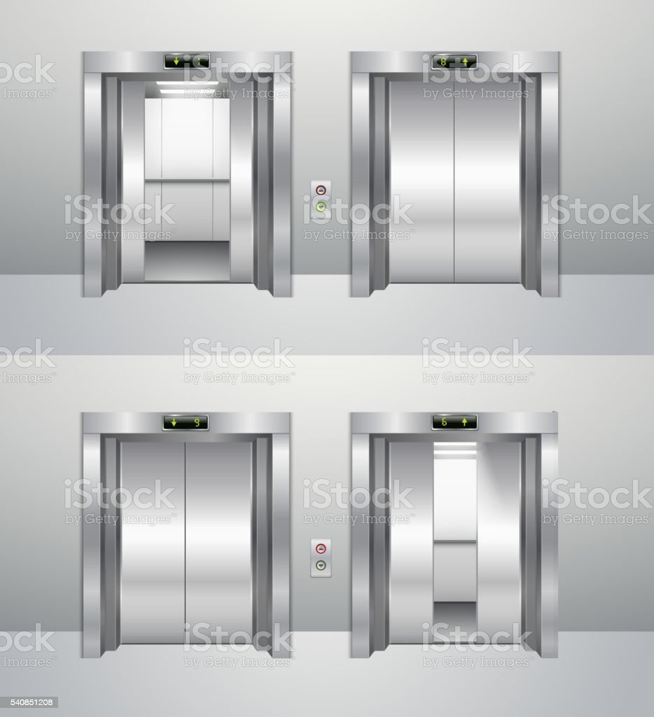 Elevator closed and open, rise up elevator and descent. vector art illustration