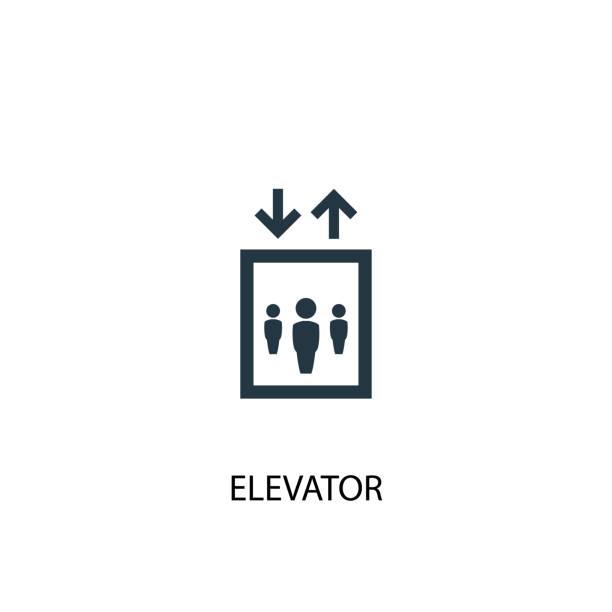 illustrazioni stock, clip art, cartoni animati e icone di tendenza di icona creativa dell'ascensore. illustrazione di elementi semplici - ascensore