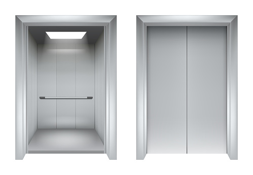 Elevator doors. Closing and opening lift metallic in office building vector realistic 3d pictures