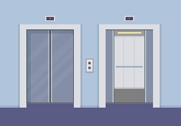 illustrazioni stock, clip art, cartoni animati e icone di tendenza di ascensore porte - ascensore