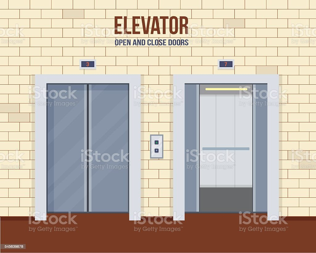 Elevator doors vector art illustration
