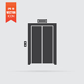 Elevator icon in flat style isolated on grey background.