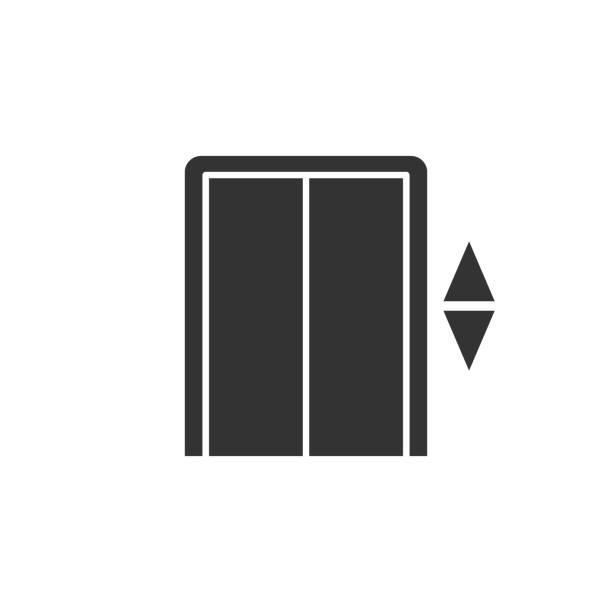 illustrazioni stock, clip art, cartoni animati e icone di tendenza di icona dell'ascensore in stile piatto. sollevare l'illustrazione vettoriale su sfondo bianco isolato. concetto di business del trasporto passeggeri. - ascensore
