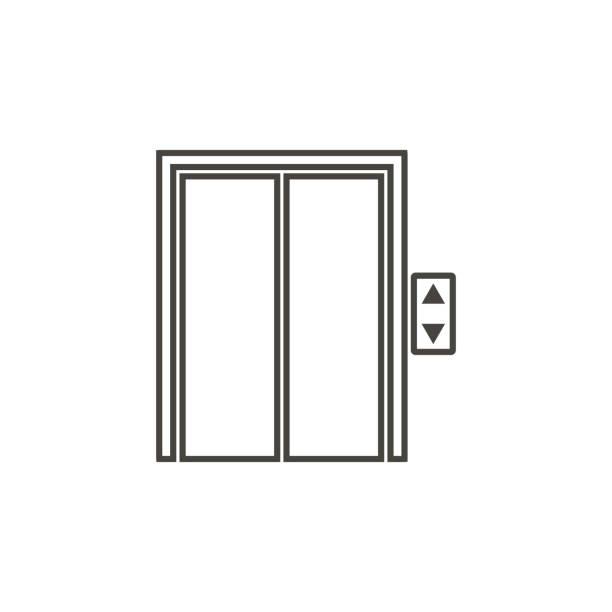 illustrazioni stock, clip art, cartoni animati e icone di tendenza di ascensore, icona in stile contorno alla moda isolato su sfondo bianco. simbolo della porta per il design del sito web, il logo, l'app, l'interfaccia utente. illustrazione vettoriale, eps10. - vettore - ascensore