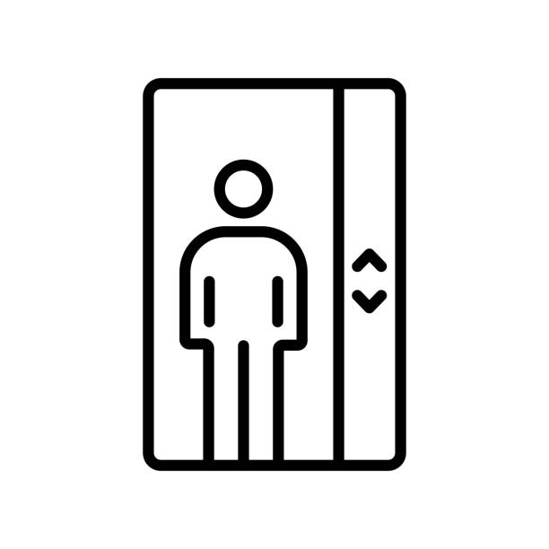 elevator icon vector sign and symbol isolated on white background, elevator logo concept - wayfinding icons stock illustrations, clip art, cartoons, & icons