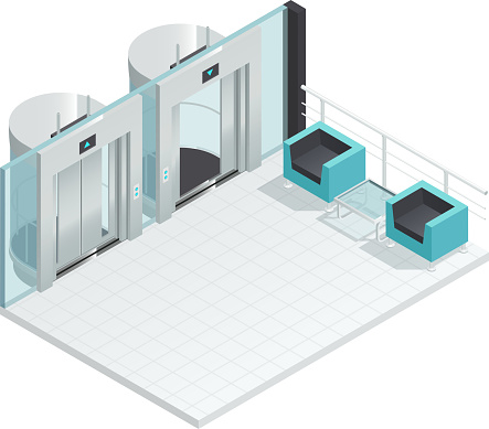 elevator lift escalator isometric interior