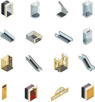 elevator lift escalator isometric set