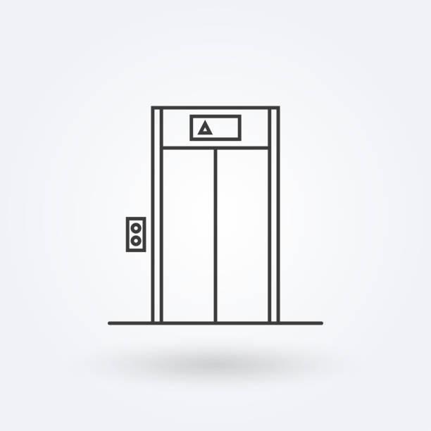 illustrazioni stock, clip art, cartoni animati e icone di tendenza di elevator outline icon. lift sign in the lobby or building. vector illustration. - ascensore