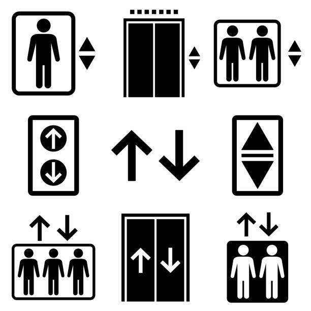 stockillustraties, clipart, cartoons en iconen met het reekspictogram van de lift, embleem dat op witte achtergrond wordt geïsoleerd - oppakken