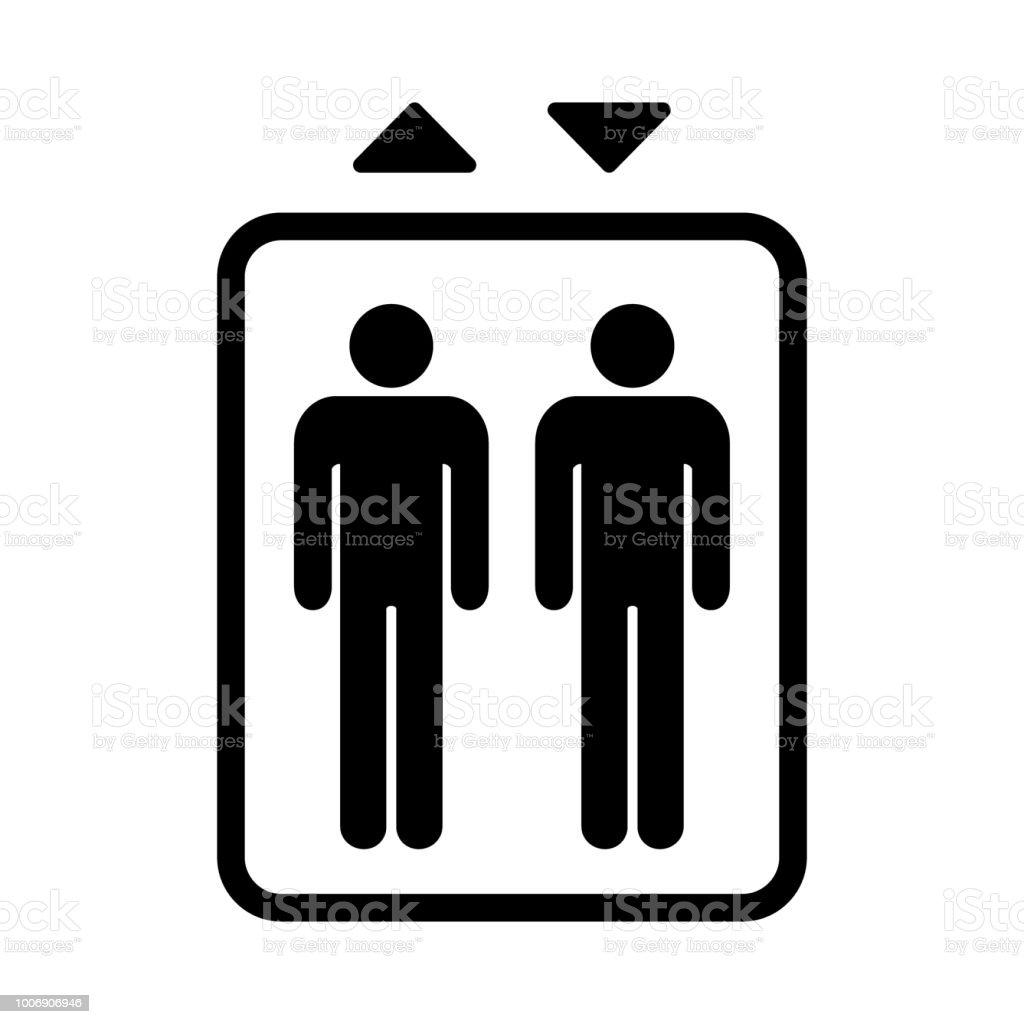 Elevator sign. Black isolated symbol for elevator. Simple design.