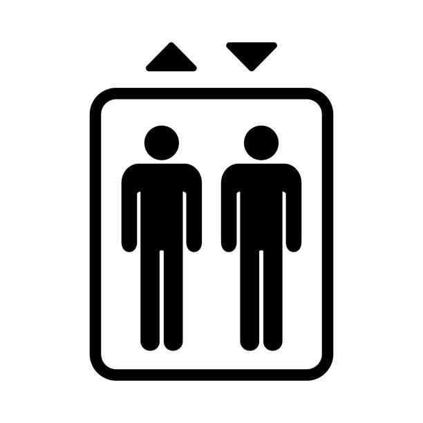 illustrazioni stock, clip art, cartoni animati e icone di tendenza di elevator sign. black isolated symbol for elevator. simple design. - ascensore