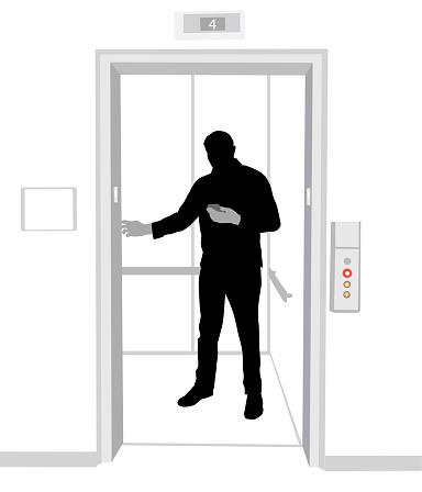 Elevator Silhouette Man