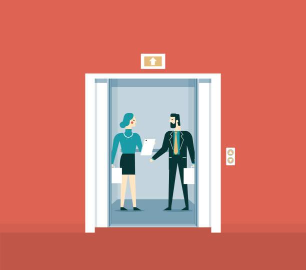 illustrazioni stock, clip art, cartoni animati e icone di tendenza di elevator talk - ascensore