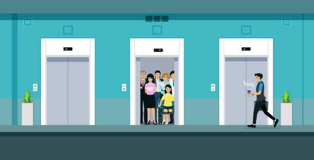 illustrazioni stock, clip art, cartoni animati e icone di tendenza di elevator - ascensore