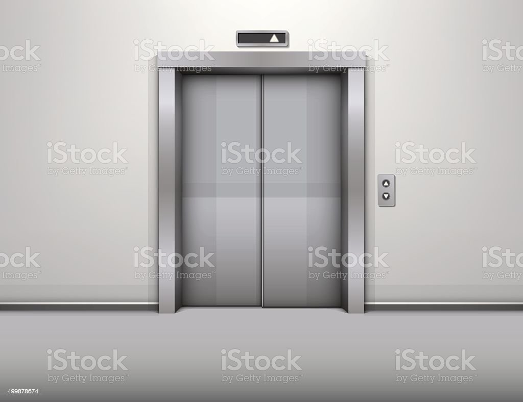 elevator with closed door vector illustration vector art illustration