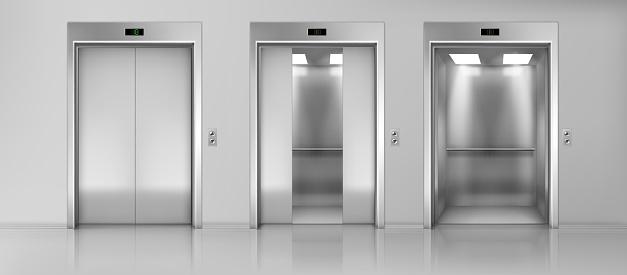 Elevators empty cabins on floor realistic vector