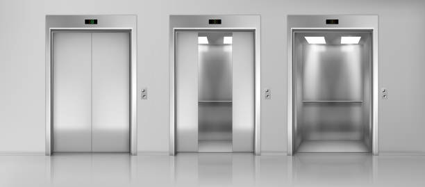 Elevators empty cabins on floor realistic vector Modern passenger or cargo elevators, lifts with closed, opened and half closed, metallic cabins doors, floor indicators digits and glossy flooring in empty corridor 3d realistic vector illustration door stock illustrations