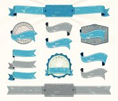 Eleven blue and gray retro ribbons