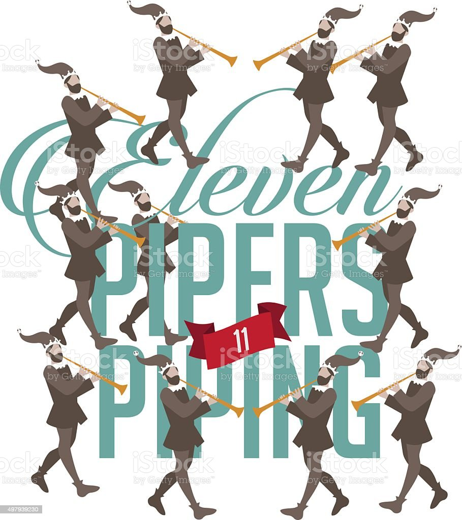 Eleven pipers piping vector art illustration