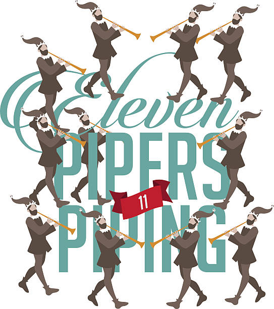 11 pipers piping images royalty free eleventh day of christmas clip art vector 8390