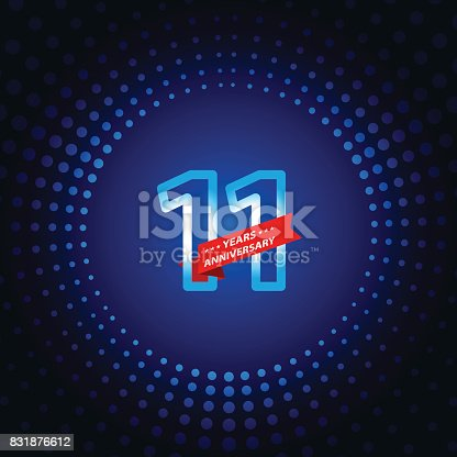 Vector of eleven years anniversary icon with blue color dot pattern background. EPS Ai 10 file format.