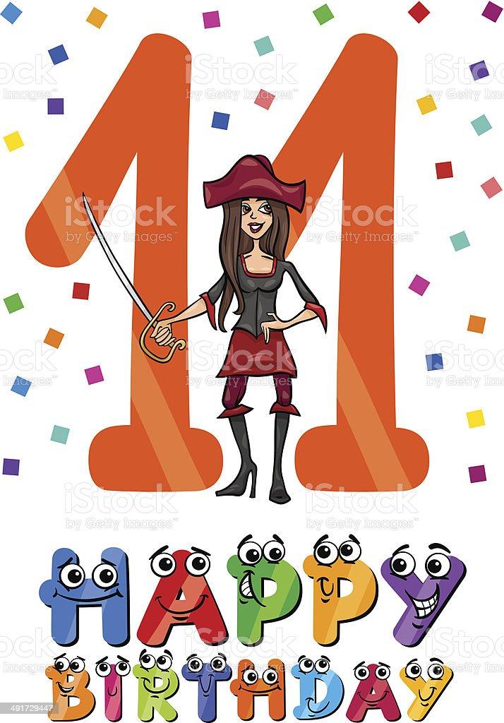 eleventh birthday cartoon design royalty-free stock vector art