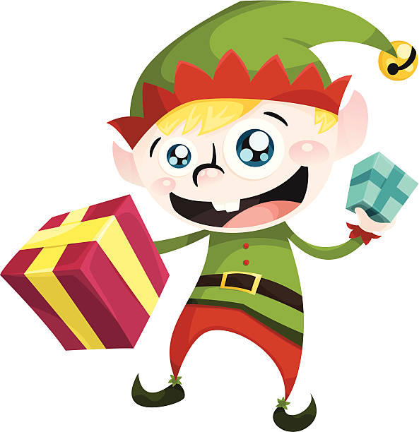Elf and Presents vector art illustration