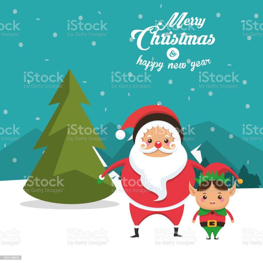 Elf and santa cartoon of Christmas design vector art illustration