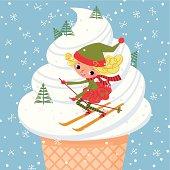 Elf rides down an Ice-Cream Mountain.
