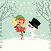 Elf and snowman