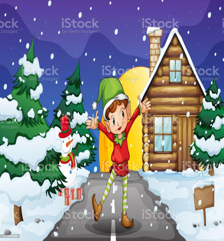 elf enjoying the snow royalty-free stock vector art