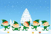 Elf fun five elves happily dancing with Snowy background