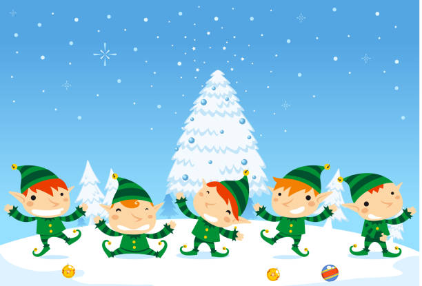 Elf fun five elves happily dancing with Snowy background Elf fun five elves happily dancing with Snowy background. Vector Illustration cartoon.  north pole stock illustrations