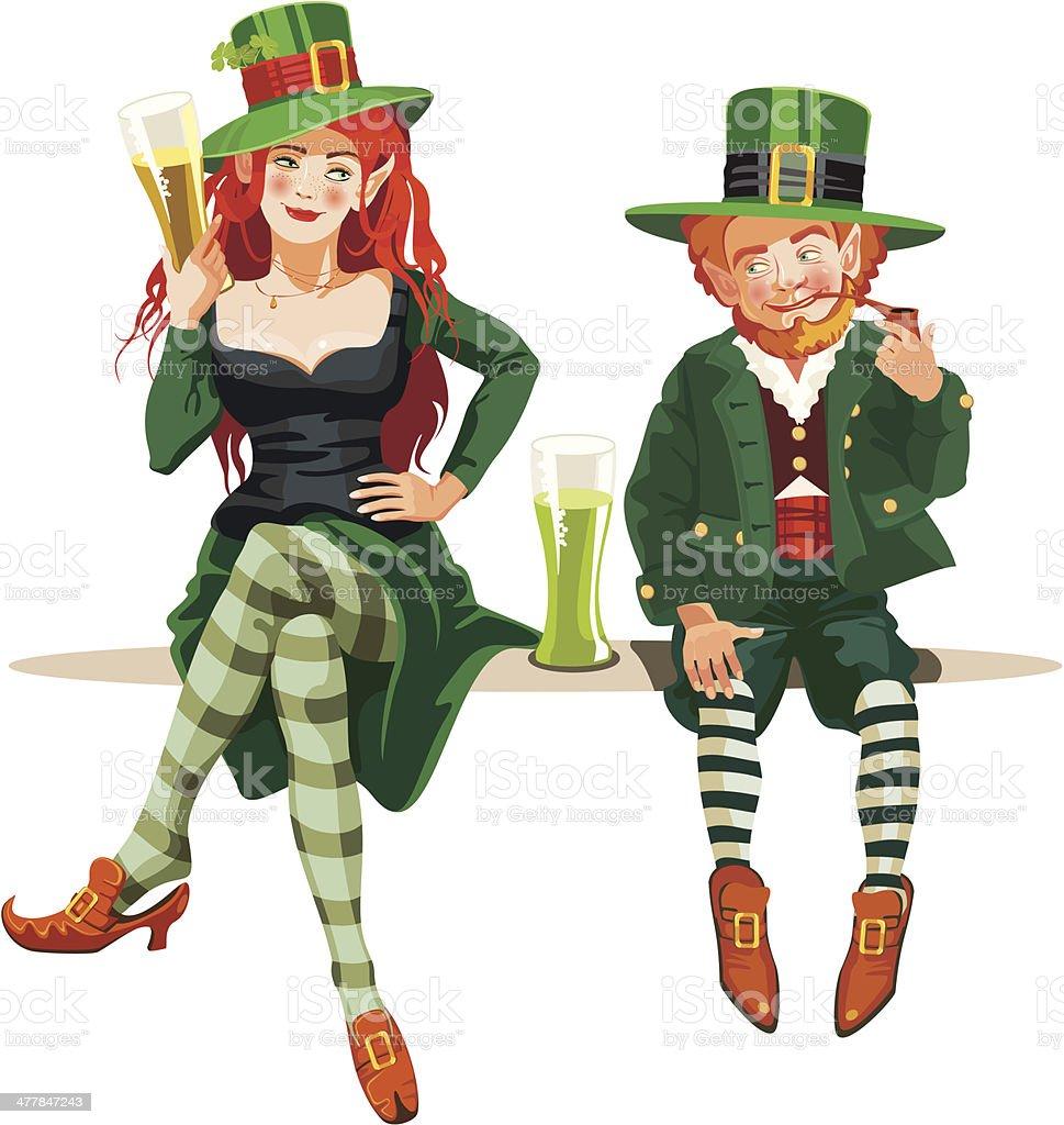 elf girl and leprechaun vector art illustration