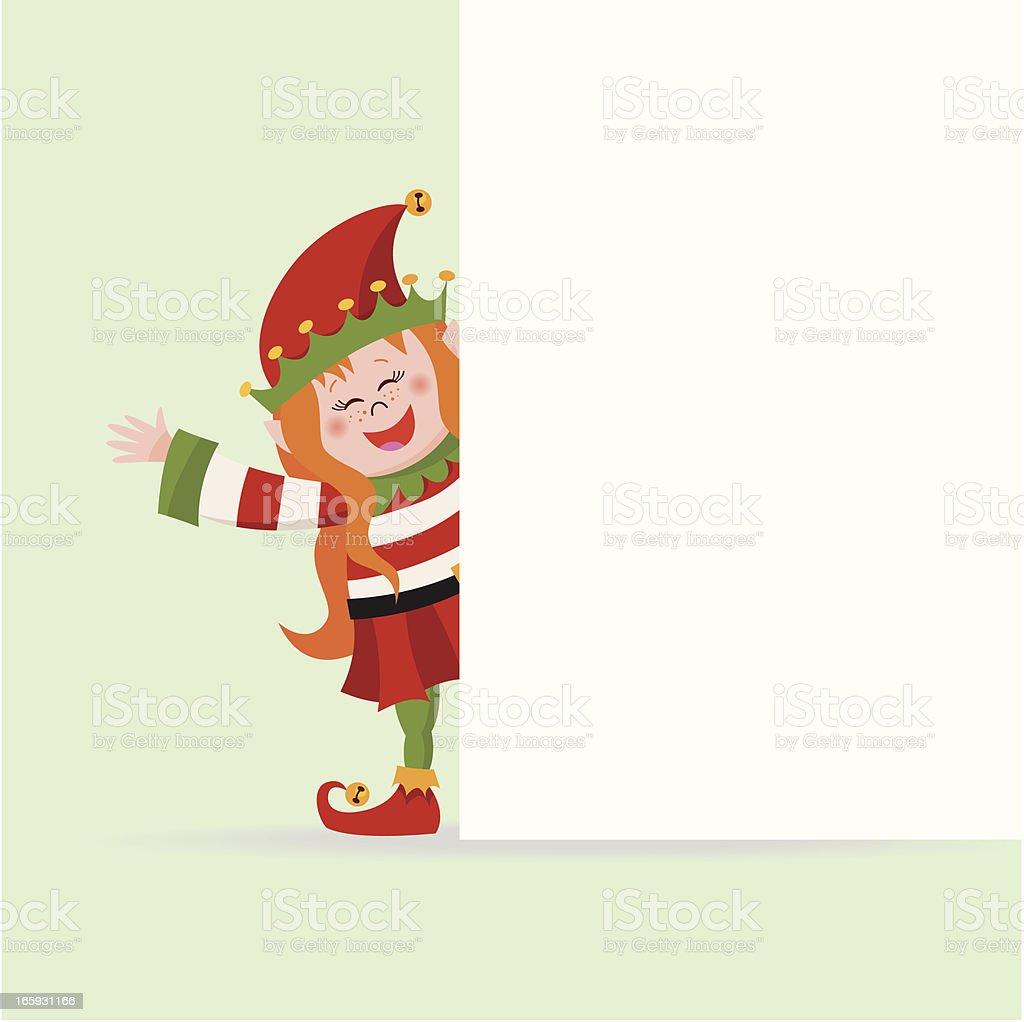 Elf girl behind a blank sign vector art illustration