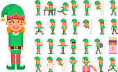 Elf Girl Christmas Santa Claus Helper in Different Poses and Actions Teen Characters Set Icons New Year Gift Holiday Flat Design Vector Illustration