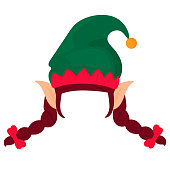 istock Elf hat with pigtails and ears. Santa Claus helper. Funny selfie photo mask 1288245801