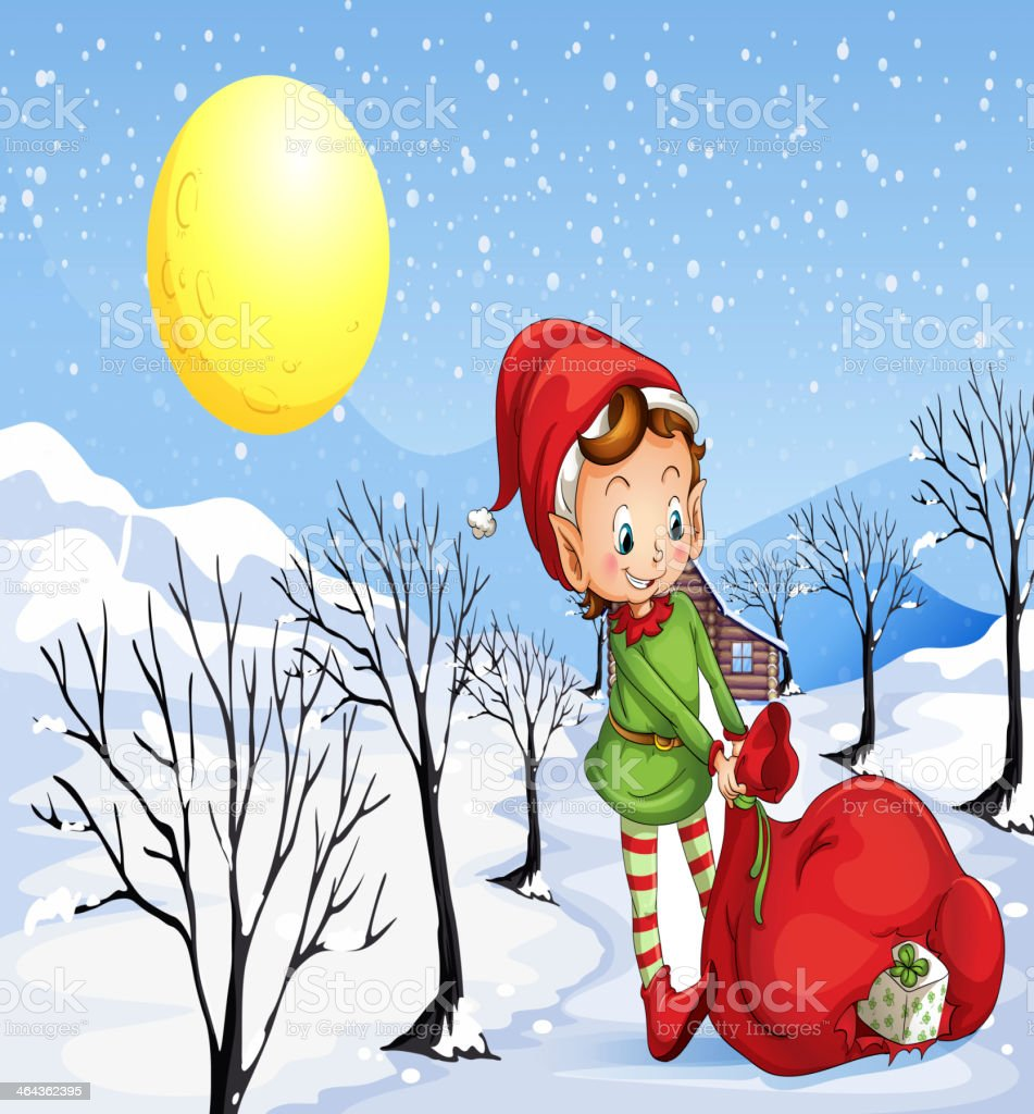 Elf holding a bag of gifts royalty-free stock vector art