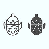 istock Elf line and solid icon. Santa tiny helper person smilling face with hat. Christmas vector design concept, outline style pictogram on white background, use for web and app. Eps 10. 1205505210