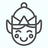 istock Elf line icon. Santa tiny helper person smilling face with hat. Christmas vector design concept, outline style pictogram on white background, use for web and app. Eps 10. 1205513367