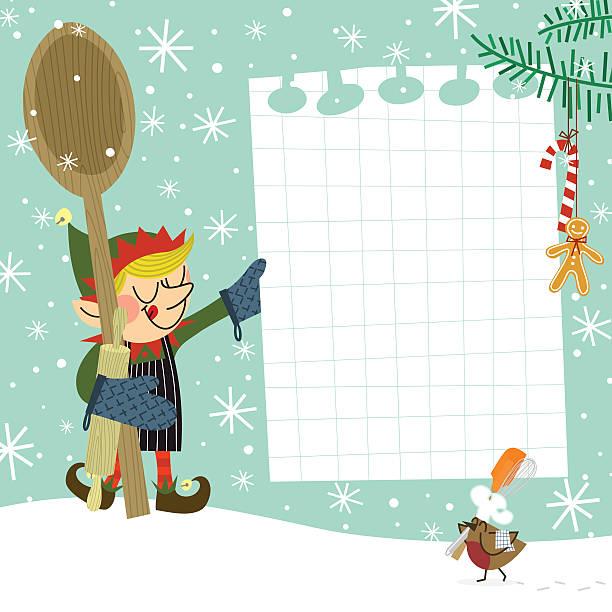 illustrazioni stock, clip art, cartoni animati e icone di tendenza di folletto ricetta - christmas cooking
