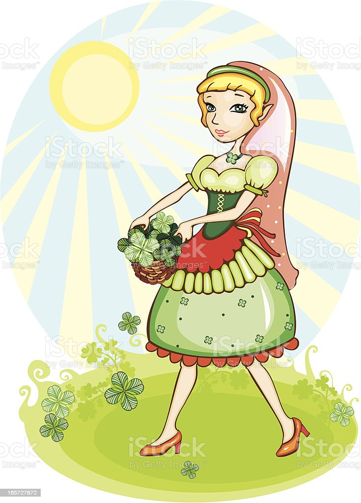 Elf with clover leaves royalty-free stock vector art