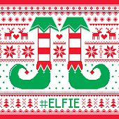 #Elfie, Elfie Christmas seamless pattern, ugly jumper decoration with elf legs